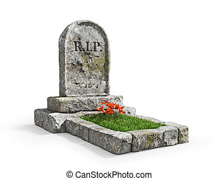 Stone grave with grass isolated on a white background. 3d...