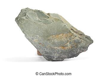 stone gray single granite boulder large river isolated big...