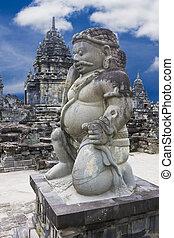 Stone Guardian at Sewu Temple, Indonesia