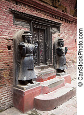 Stone Guardians, Royal Palace of Bhaktapur, Nepal