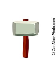 Stone hammer isolated on white background. Ancient tool and weapon in flat style. Vector illustration.