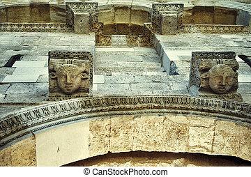 Stone heads, Diocletian's Palace. Split, Croatia