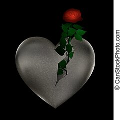 stone heart and rose - big stone broken heart with rose...