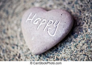 Stone heart with the word - Happy - Natural grey stone heart...