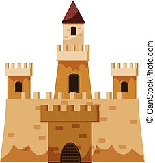 Stone historical castle icon, cartoon style