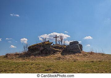 stone hloupý, hilltop, kříž