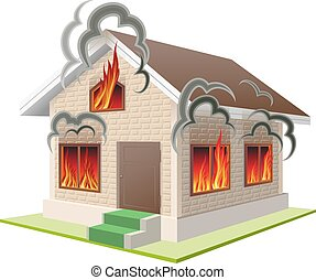 Property insurance against fire - Stone house burns. ...