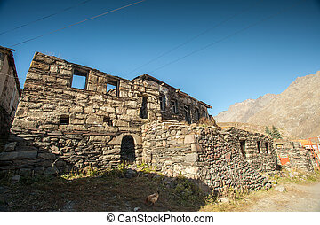 Stone house in the mountains of the Caucasus
