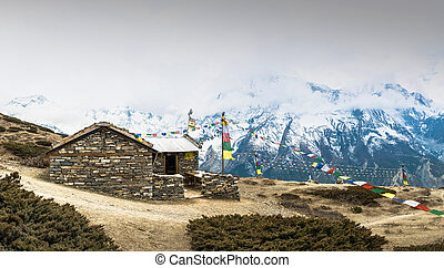 Stone house on the trail to the Ice lake, Nepal. - A small...