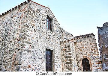 stone houses at Monemvasia castle Peloponnese Greece