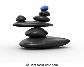 Stone in balance - Blue stone sitting in balance on other...