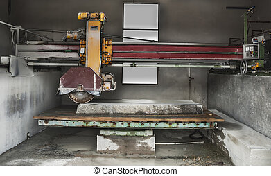 Stone industry - cutting line in saw mill