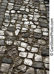 Stone inlayed street.