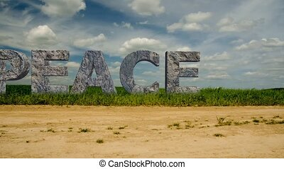 Stone inscription PEACE. The concept of peace. 48