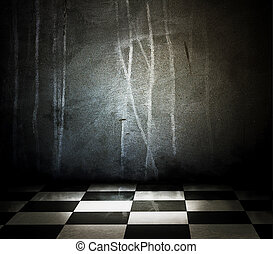 Empty of stone interior with checkered marble floor