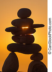 Stone Inukshuk figurine - Symbolic figurine of inukshuk of...