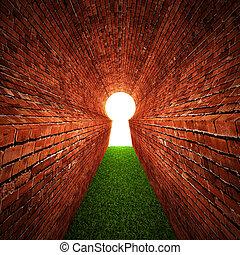stone keyhole - Stone tunnel