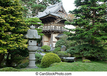 Stone Lantern by Japanese Garden Entrance