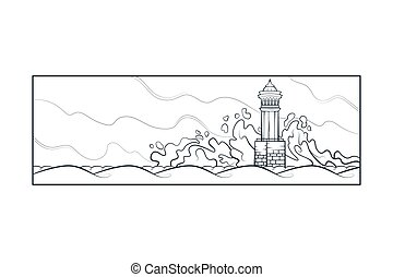 Stone lighthouse tower. Big sea waves beat against the rocks...