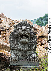 Stone Lion Carving at the temple.