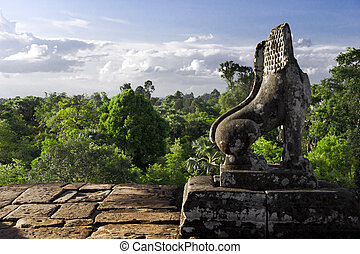 Stone Lion Guardian at Pre Rup - Stone Lion Guardian with...