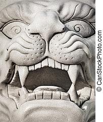 Stone lion head - marble statue - Stone lion head - a marble...
