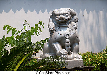 Stone lion of Chinese temple