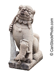 Stone Lion sculpture, symbol of protection & power