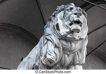 Stone lion statue at the Feldherrnhalle in Munich, Bavaria