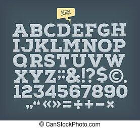 Stone made ABC. Vector vintage alphabet.