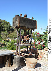 stone mill and mechanical press for production of oil