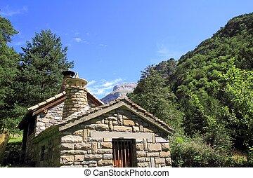 stone mountain house in Pyrenees mountains Huesca Spain ...