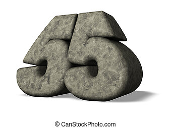 number fifty five - stone number fifty five on white ...