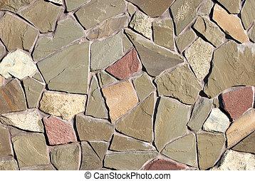 Veneering of natural stone of irregular shape