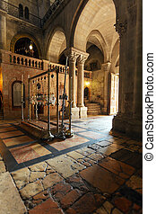Stone of Unction at Entrance in Temple of the Holy Sepulcher in Jerusalem