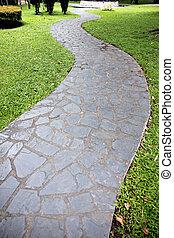 Stone of walkway in the garden.