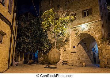 old city Jaffa - stone old city Jaffa in Tel Aviv at night
