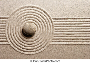 Mini rock garden - Stone on raked sand; Zene concept; Mini...