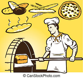A baker retrieving a loaf of bread from a oven. Clip art of other bread items above.