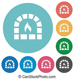 Stone oven flat round icons
