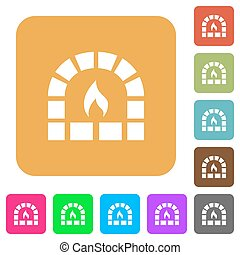 Stone oven rounded square flat icons