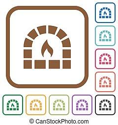 Stone oven simple icons
