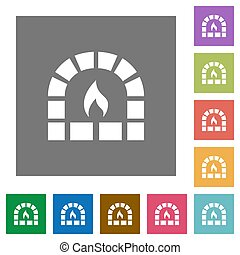 Stone oven square flat icons