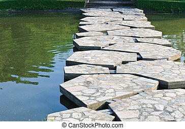 Stone path across the pond