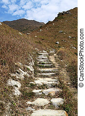 Stone path in the mountains