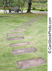 Stone path in tropical garden