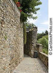 Stone path next to a wall