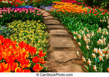 Stone path winding in a garden