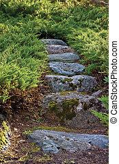 Stone pathway, granite rock stairway path in summer garden