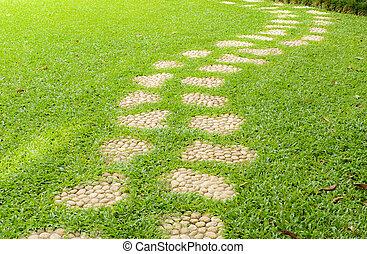 Stone pathway on grass.